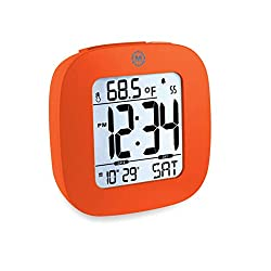 Marathon Small Compact Alarm Clock with Repeating Snooze, Light, Date and Temperature. Batteries Included Travel Collection - Special Edition - CL030058OR (Red Orange)