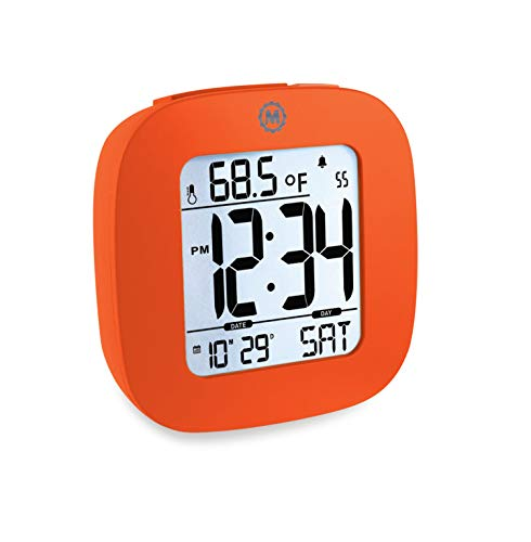 Marathon CL030058OR Small Compact Alarm Clock with Repeating Snooze, Light, Date and Temperature. Batteries Included Travel Collection. Special Edition Color - Orange