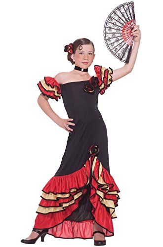 Mememall Fashion Flamenco Spanish Dancer Girl Child Costume (L) (Girls Spanish Flamenco Dancer Costume)