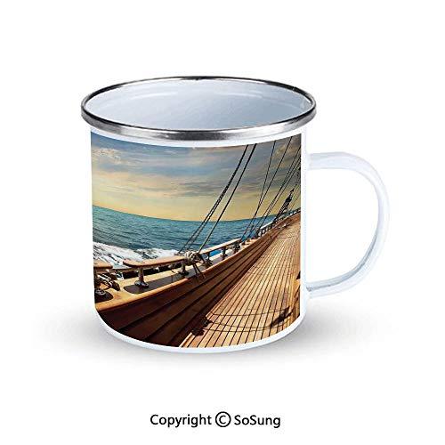 Nautical Decor Sportsmans Camping Enamel Travel Mug,Sailboat in Mediterranean Waves at Sunset Sky Relax Yacht Wind Relax Scenery Outdoor Enamel Mug,Cream Blue