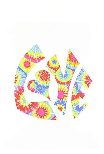 The Word Love in a Vintage Funky Retro 60S Hippie Tie-Dye Pattern Garden Flag, 12 by 18-Inch