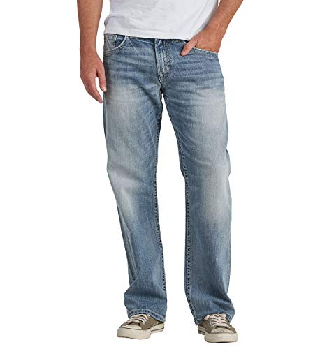 Silver Jeans Co. Men's Gordie Loose Fit Straight Leg Jeans, Light Wash Indigo, 33Wx 30L ()