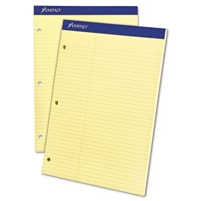 Double Sheet Pad, Law Rule, 8-1/2 x 11-3/4, Canary, Perfed, 100 Sheets, Sold as 1 Pad (Decal Div)