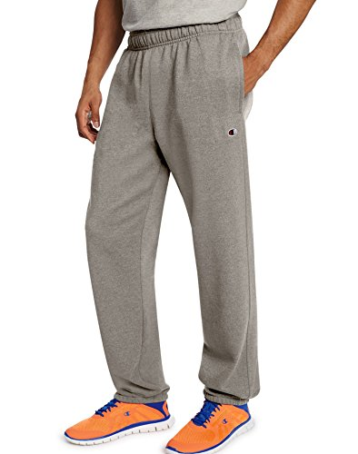 - Champion Men's Powerblend Relaxed Bottom Fleece Pant_Oxford Grey_XL