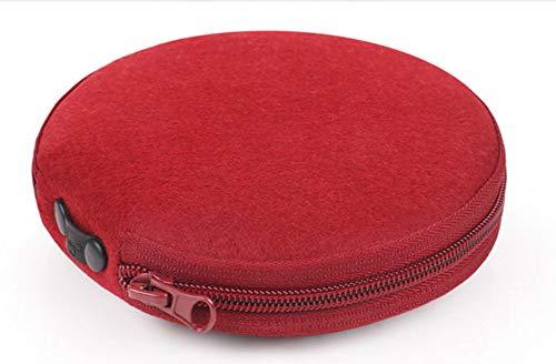 Amaric CD Case DVD Storage CD Wallet CD Holder Dividers Folder Round Felt 20 Capacity,Red