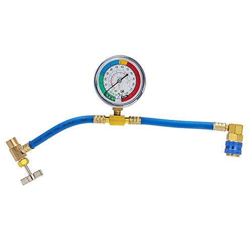 CarBole R134A Car AC Refrigerant Charge Hose Kit Recharge Hose with Gauge A/C 1/2 Recharge Measuring Kit Can Tap Air Conditioning Pressure Gauge R134A