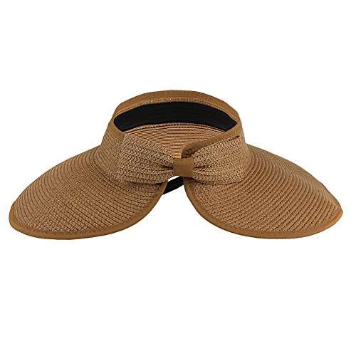 Women's Wide Brim Summer Beach Hat Foldable Roll Up Sun Visor Straw Hats Cap