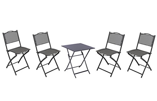 tro Set Foldable Metal 4xChairs and 1xTable Grey ()