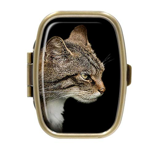 Scottish Wildcat Rectangular Bronze Pill Box Case Pocket Medicine Tablet Holder Organizer Pill Decorative Box Case Wallet Purse Pocket ()