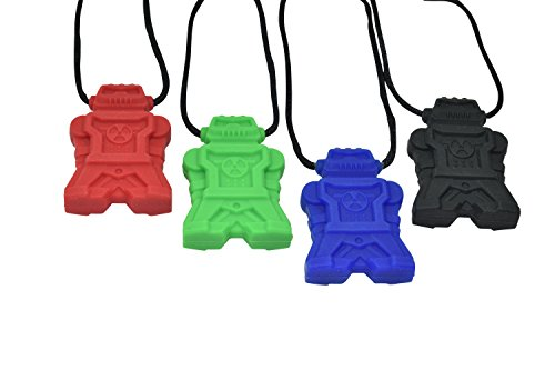 - chubuddy Chewable Robot Pendant Chewie robotz Set of Four- Red, Blue, Black and Green, Non-Toxic material, For Light Chewers (Chew Factor 1.5)