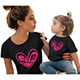 Mommy and Me, Love Print Short Sleeve Mother Daughter Matching T-Shirt Tops for Mother's Day (3-4 Years, Black)