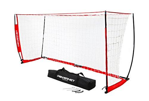 PowerNet Soccer Goal 8x4 Portable Bow Style Net | Metal Base | Durable Fiberglass Vertical Poles | Quick Setup Easy Folding Storage | 1 Goal+1 Carrying Bag | Scrimmage or Street Game | Rebounder