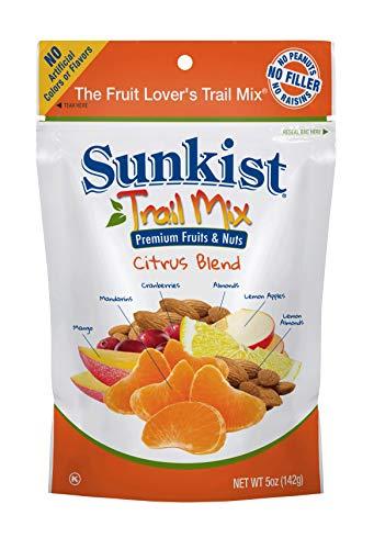 Sunkist Real Fruit Trail Mix Citrus Blend, 5 Ounce Resealable Bags (8 pack) Mandarins, Lemon Apples, Lemon Almonds, Cranberries, Mango, Almonds Premium Nuts, Crunchy, Sweet, Salty, Dried (Sunkist Lemon)