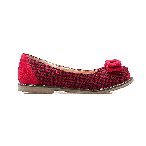 VogueZone009 Women's Fabric Low-Heels Square-Toe Pull-On Pumps-Shoes Red cJLKBHffp
