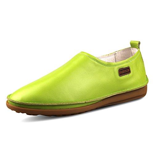 Santimon Mode Masculine En Cuir Véritable Entraînement Causal Chaussures Vert