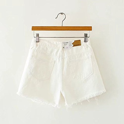 Poches avec Blanc Slim Dechir en Shorts Jeans Trou Taille Femme Haute Oudan x6nPvz