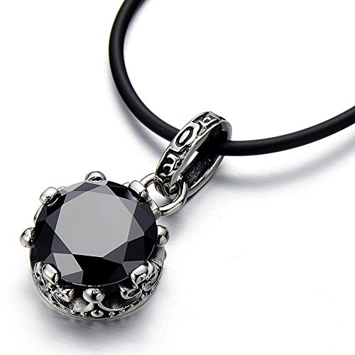 Vintage Stainless Pendant Necklace Zirconia