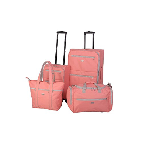 4 Piece Solid Sweet Graphic Pattern Rolling Lightweight Expandable Carry On Luggage Set Suitcases, Modern Trendy Art Themed, Softsided, Stylish, Multi Compartment, Fashionable Soft Travel Bags, Coral by S & E
