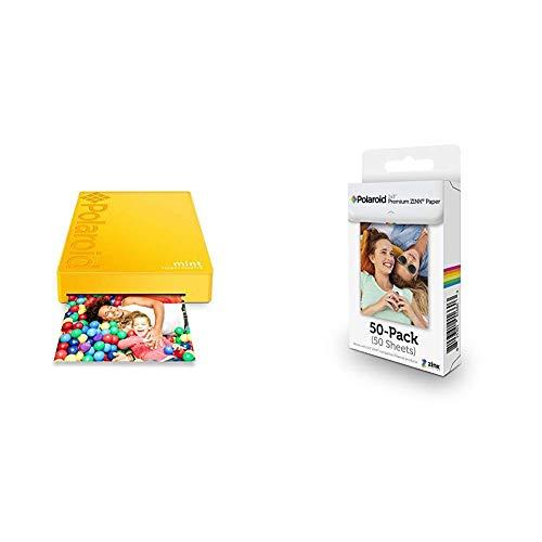 Polaroid Mint Wireless Mobile Photo Mini Printer (Yellow) with Polaroid 2x3ʺ Premium Zink Zero Photo Paper 50-Pack