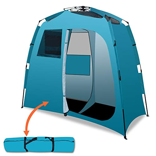 Strong Camel 2-Room Shower Tent Outdoor Portable Camping Beach Pop Up Tent Changing Dressing Room-Blue