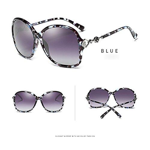 Élégantes Color TangMengYun Soleil Lunettes Femmes Fashion Polarisées Blue Soleil de Big de UV400 Lunettes Blue Frame de Lunettes Soleil wIraqIf