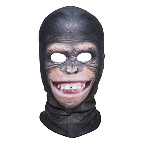 JIUSY 3D Smile Chimpanzee Fleece Balaclava Neck Warmer Cover Face Mask for Snowboard Ski Motorcycle Cycling Hunting Riding Halloween Party Costumes Cosplay Cold Weather Winter Outdoor Sports MXX-04 (Ski 04)