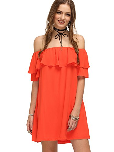 Milumia Women's Off Shoulder Ruffles Shift Loose Dress Orange M