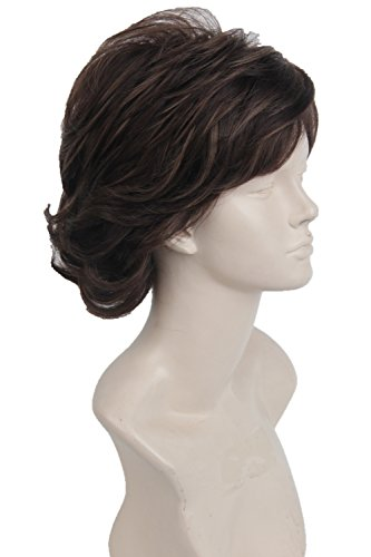 Cosplay Wig Short Natural Wavy Style Layered Halloween Synthetic Fiber Hair Wigs For Women Men  Brown Mixed Caramel