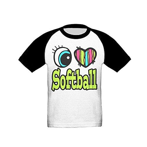 Price comparison product image Osmantus Kid's I Love Softball Raglan T-Shirts 3 / 4 Sleeves Baseball Tee 3 Toddler