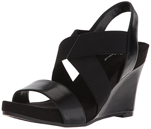 Aerosoles A2 Women's Lotus Plush Wedge Sandal, Black, 6 M US
