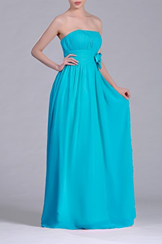 Long Dress Strapless A Women's Adorona Cyan Chiffon Line qxv4ZUUw