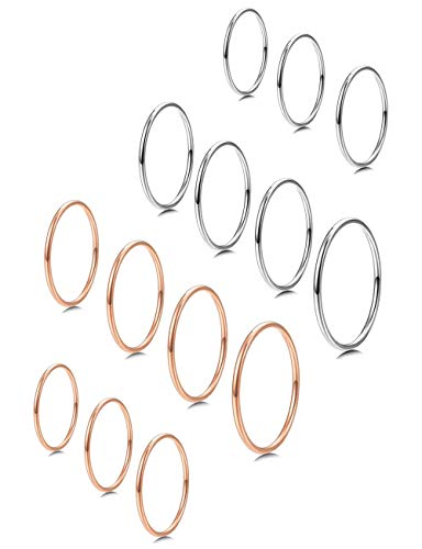 Choice Stack Ring - Milacolato 7-14 PCS 1MM Stainless Steel Band Knuckle Stacking Rings for Women Girls Fashion Midi Rings Comfort Fit Size 3-9 Rose-Gold