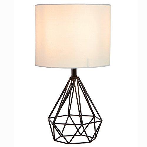 SOTTAE Black Hollowed Out Base Modern Livingroom Bedroom Bedside Table Lamp, Desk Lamp With White Fabric Shade (Shade Fabric Lamp White Table)