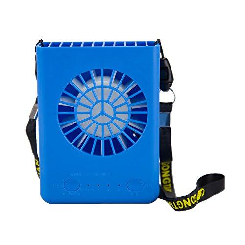 Donsinn Personal Necklace Fan, USB Fan Portable Rechargeable Battery Operated, Lightweight Adjustable Fan Speeds Mini Fan for Office Desk Table Outdoor Camping Travel (Blue) by Donsinn
