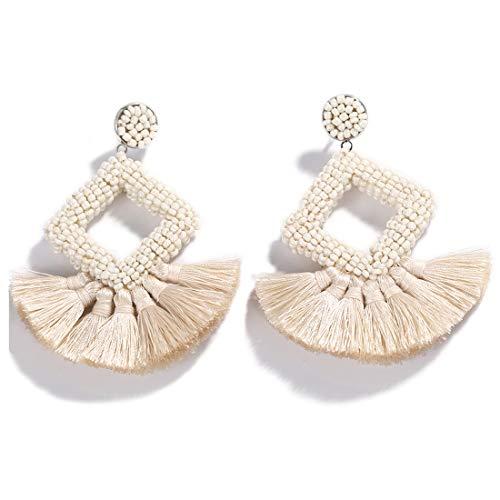 Ivory Tassel Fringe - Dvacaman Hoop Tassel Earrings for Women - Statement Handmade Beaded Fringe Dangle Earrings, Idea Gift for Mom, Sister and Friend (Ivory)