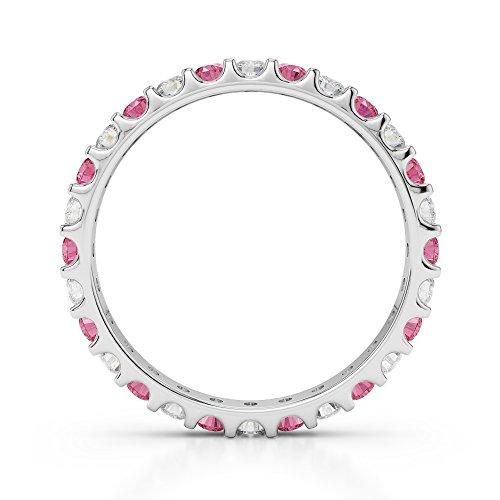 Or blanc 18carats 0,42CT G-H/VS Certifié Coupe ronde Tourmaline Rose et diamant éternité Bague Agdr-1104