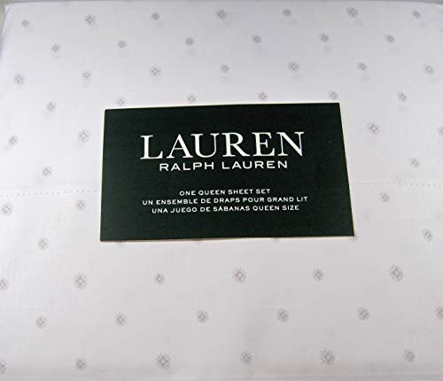 Lauren 4 Piece Queen Sheet Set Geometric Print Light Gray 100% Cotton 300 Thread Ct.