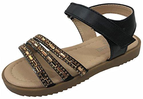 Soho Girls, Toddler Infant Kids Basic Summer Wedge Sandals Amy Black 6 by Soho