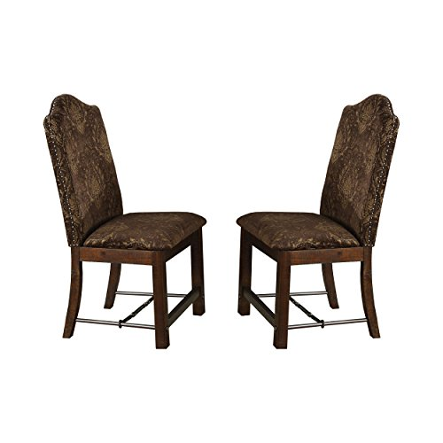 Pine Dining Room Set (Emerald Home Pine Brown Upholstered Dining Chair with Nailhead Trim and Turnbuckle Bracing, Set of Two)