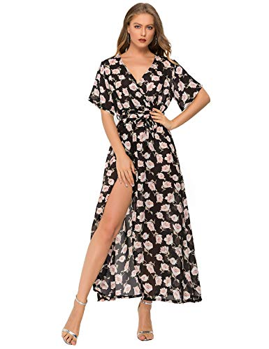 Escalier Women's Floral Maxi Dress Split Beach Flowy Party Dresses with Belt ()