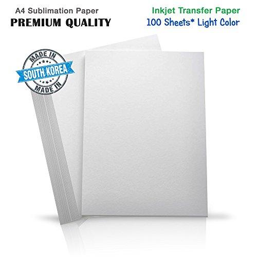 INKUTEN Premium Inkjet Heat Transfer Paper for (Light Colored Fabrics) Epson, HP, Canon, Ricoh, SawGrass Printers (100 Sheets) - Shopping Sawgrass