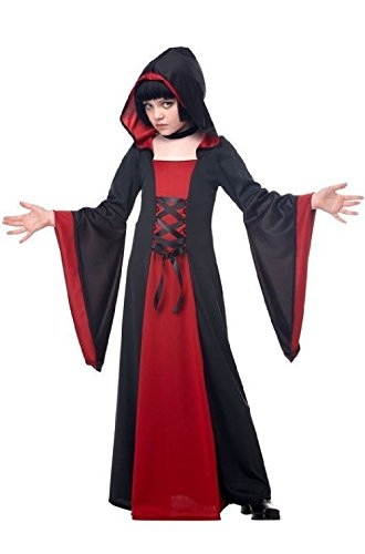 Hooded Robe Costume Dress Children Girls Black Red Vampiress Witch Large