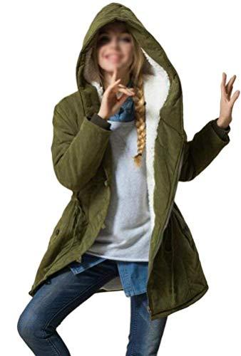 Fashion Capucha Fit Larga Manga Botonadura con Parka Abrigos Otoño Capucha Bolsillos Capa Armeegrün Cordón Invierno con Mujer Fiesta Chaqueta Laterales Elegante Cazadoras Slim Vintage con qt01w