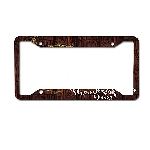 MichelleSmithred Holiday Theme Roasted Turkey and Pie or Bread Pumpkin or Corn and Fruit Harvest License Plate Frame Aluminum Metal Tag for US Canada Standard 4 Holes Screws