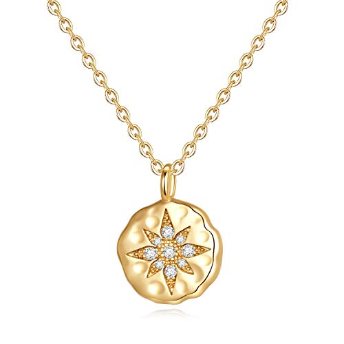 North Star Necklace for Women Gifts - Gold Plated Square CZ North Star Pendant Sparkly Star Necklace Wedding Gifts for Women Girls, Dainty Venus Star Necklace Best Inspirational Gifts for Her