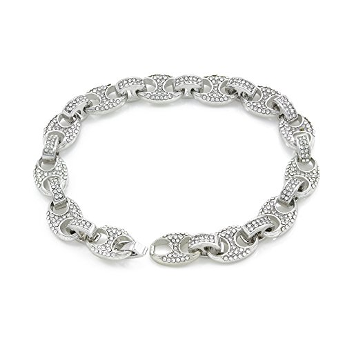 Bling Bling NY Mens Iced Out Mariner Link Choker Necklace/Bracelet Silver Finish Lab Created Diamonds 10MM (8.5-30 inches) (Bracelet 8.5'')