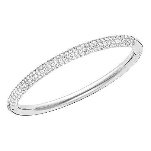 SWAROVSKI Stone Women's Bangle Bracelet, Medium Bracelet with Clear Crystal Pavé on a Rhodium Plated Band with Hinge Closure