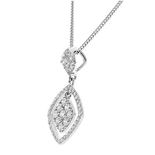 Revoni Bague en or blanc-18carats 0,40ct Diamant Pendentif Carré avec Chaîne de 46cm