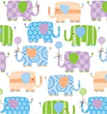 """Baby Elephants Gift Wrapping Roll 24"""" x 15' - Baby Shower Gift Wrap Paper"""