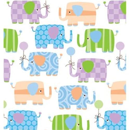 Baby shower gift wrap amazon baby elephants gift wrapping roll 24 x 15 baby shower gift wrap paper negle Images